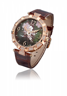 Golden Afternoon, automatic movement, rose gold set with diamonds - GA.AU.001