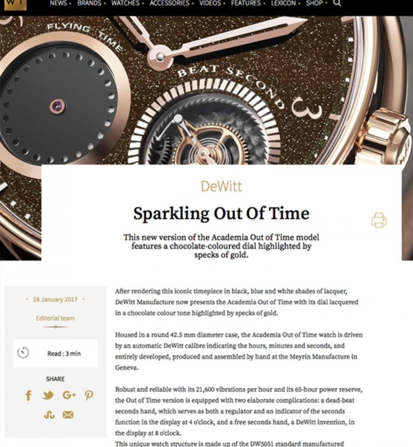 DeWitt Sparkling Out of Time on www.worldtempus.com, January 28, 2017