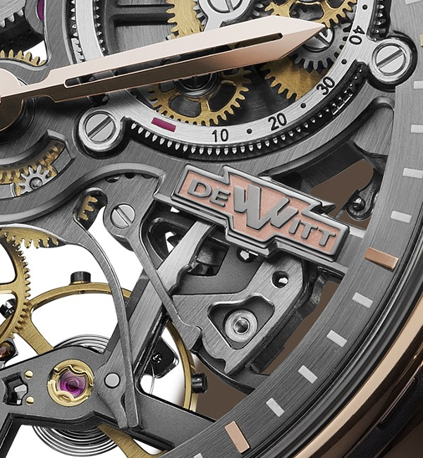Detail DeWitt logo on Academia Skeleton watch