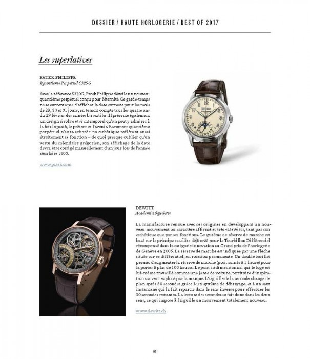 The Academia Skeleton selected by market magazine as one of 2017 best watches