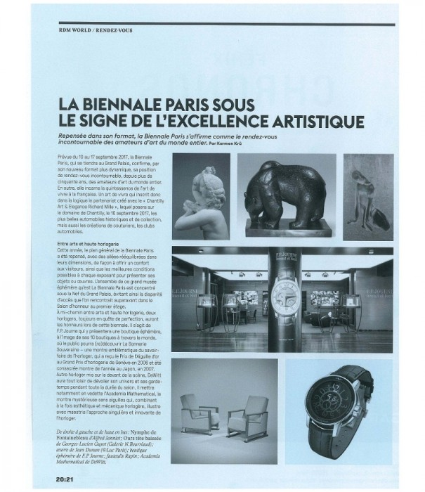 DeWitt is one of the two watch brands participating to the Biennale de Paris