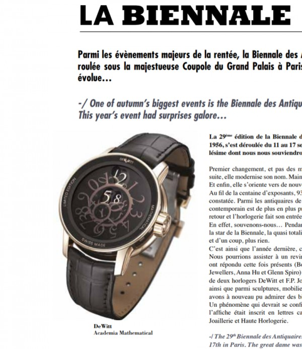 At the 2017 edition of the Biennale de Paris, five jewellers made an appearance and another suprise was that they were joined by DeWitt and another watch brand.